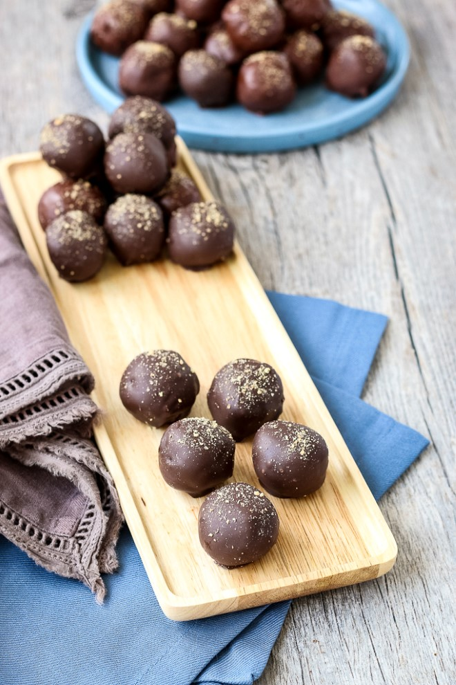Finished peanut butter balls, easy no bake recipe ready to eat and serve.