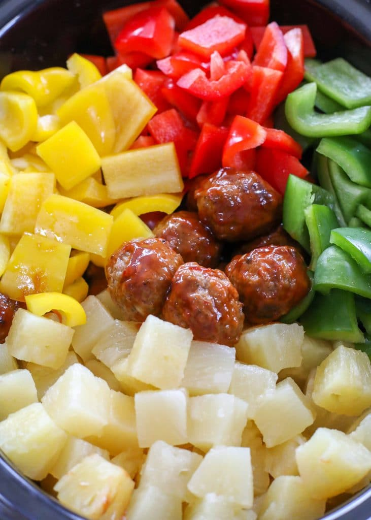 Meatballs with Bell Peppers and Pineapple in the crockpot