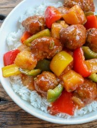 Sweet and Sour Meatballs with Rice